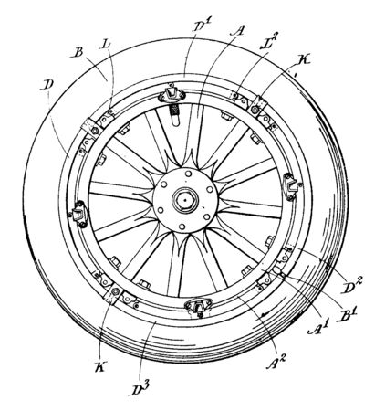 Detachable Rim in which the circular outer part of a wheel furthest from the axle, vintage line drawing or engraving illustration.