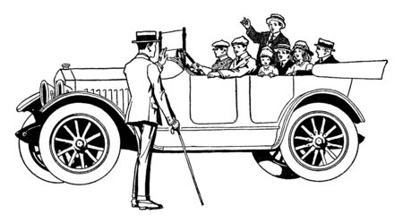 Family in car greeting a man standing on the road, vintage line drawing or engraving illustration