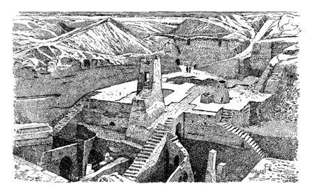 Excavations at Nippur where city contained an imposing temple, vintage line drawing or engraving illustration. Иллюстрация