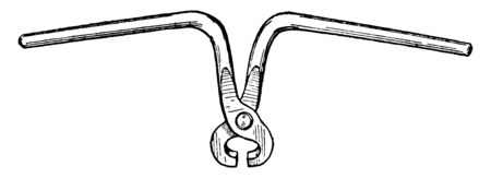 Rail Tongs used by trackmen for lifting rails which have short jaws designed to clasp the rail head, vintage line drawing or engraving illustration. Illustration