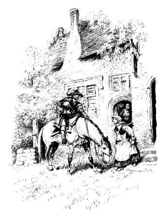 A gentleman with child on horseback, a woman standing near horse and talking to him, vintage line drawing or engraving illustration Illusztráció