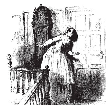 A colonial woman listening through door, vintage line drawing or engraving illustration