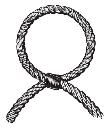 Cuckold Knot is a loop made in a rope by crossing the two parts and seizing them together, vintage line drawing or engraving illustration. Illusztráció