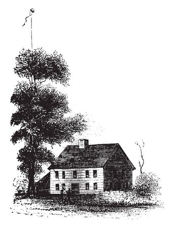 Alden Tavern Site is a historic site in Lebanon, Connecticut owned by Captain Alden,vintage line drawing or engraving illustration