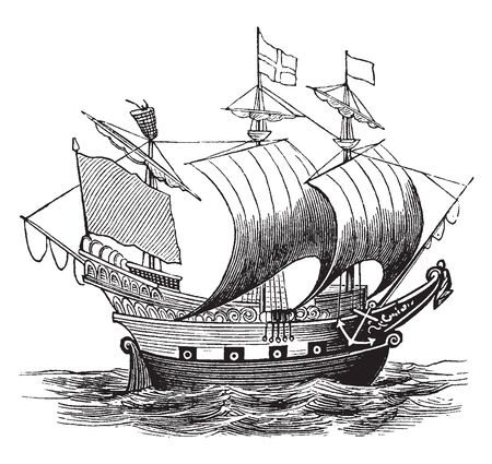 English Ship was the first of 13 English and Royal Navy ships to bear the name, vintage line drawing or engraving illustration.