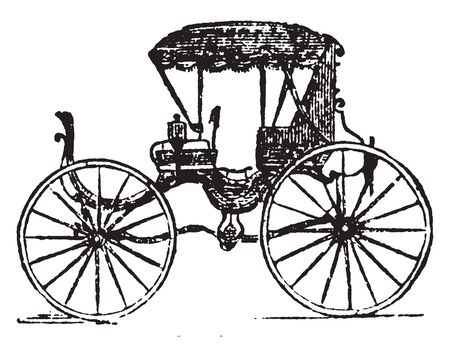 Chariotee is a four wheeled pleasure carriage with two seats and a movable top, vintage line drawing or engraving illustration.