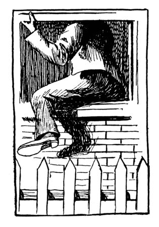 A thief moving out of house, vintage line drawing or engraving illustration