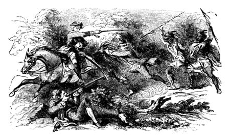 The Battle of Wyoming between American Patriots and Loyalists,vintage line drawing or engraving illustration. Иллюстрация