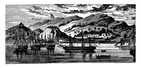 The Essex and Her Prizes in Massachusetts Bay following a cruise in Bermuda, vintage line drawing or engraving illustration. 向量圖像