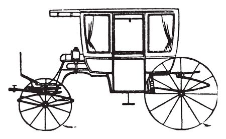 Six pass Rockaway which is modern fashionable carriages and vehicles in general use, vintage line drawing or engraving illustration.