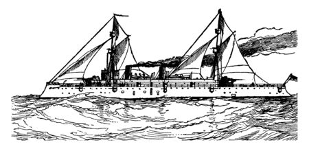 This image represents a United States protected Cruiser at Sea, vintage line drawing or engraving illustration.