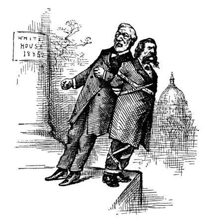 A man leaning on another man and pushing him, vintage line drawing or engraving illustration Illusztráció