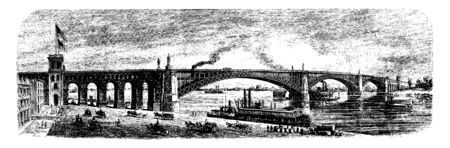 Eads Bridge is a steel combined road and railway bridge over the Mississippi River connecting the cities of St Louis, vintage line drawing or engraving illustration. Ilustrace