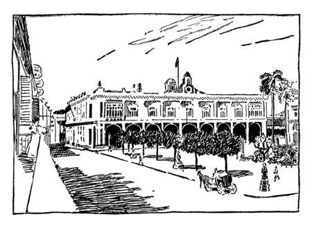 This illustration represents Captain General Palace in Havana, vintage line drawing or engraving illustration. Ilustração