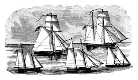 Gunboats in 1807 were wind powered ships, vintage line drawing or engraving illustration.