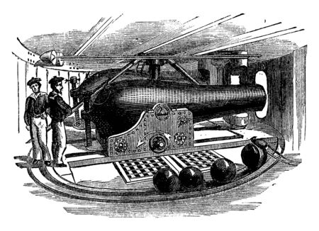 Interior of the Monitor Turret consisted of a heavy round revolving iron gun turret on the deck, vintage line drawing or engraving illustration.