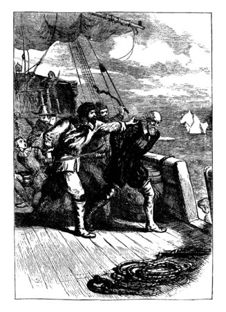 Pirates forcing a man off a ship, vintage line drawing or engraving illustration