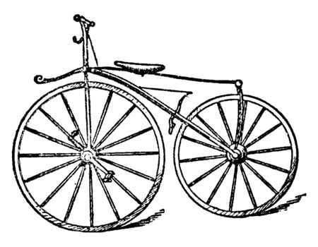 Boneshaker Bicycle is a name used from about 1869 up to the present time to refer to the first type of true bicycle with pedals, vintage line drawing or engraving illustration.