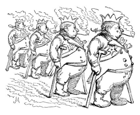 Four military officers standing in line and smoking a pipe, vintage line drawing or engraving illustration Çizim