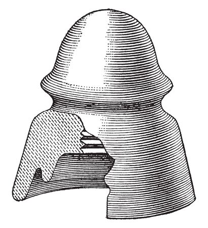 Feeder Insulator was previously made from glass but the strain they endured caused them to crack, vintage line drawing or engraving illustration. Illustration