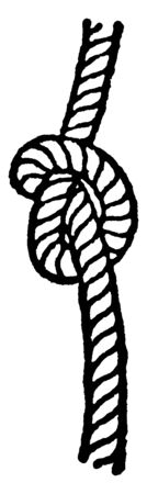 Overhand Knot which is used at the end of ropes to prevent their unreeving and as the commencement of other knots, vintage line drawing or engraving illustration. Ilustrace