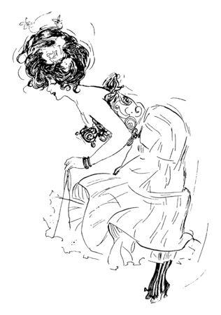 A woman bending over, vintage line drawing or engraving illustration Çizim