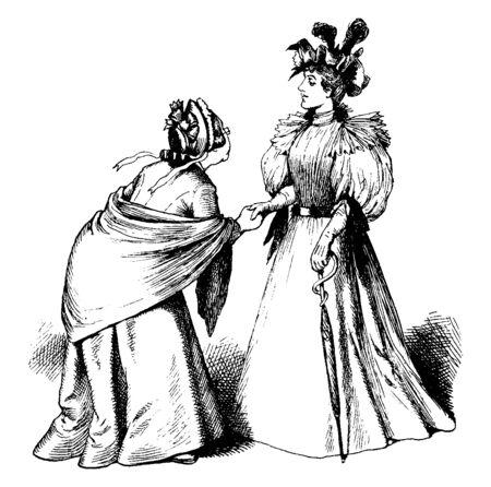 Two women shaking hands, vintage line drawing or engraving illustration 向量圖像