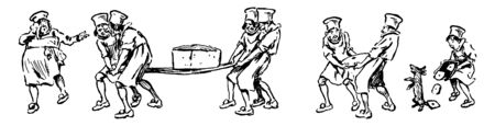 Group of kitchen staff carrying large quantity of food, vintage line drawing or engraving illustration