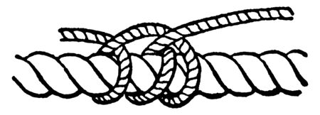 Rolling Hitch where two round turns are taken round a spar or large rope in the direction on which it is to be hauled, vintage line drawing or engraving illustration. Banco de Imagens - 132824216