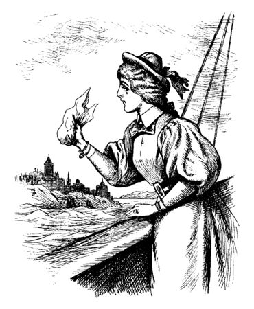 A woman waving a handkerchief, vintage line drawing or engraving illustration Stock Illustratie