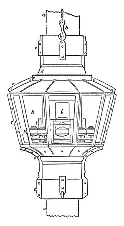 Floating Lights proposed to employ a number of sets of dioptric apparatus in one lantern, vintage line drawing or engraving illustration. Иллюстрация