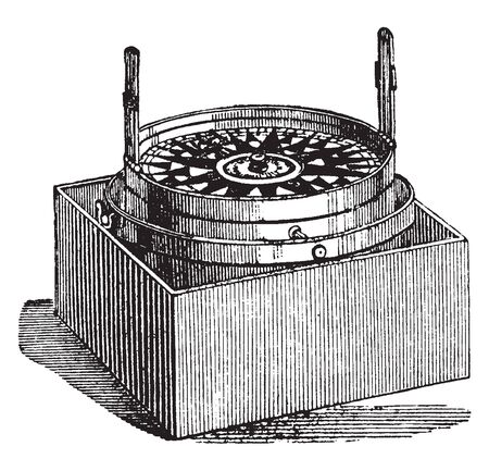 Azimuth Compass is a nautical instrument used to measure the magnetic azimuth, vintage line drawing or engraving illustration.