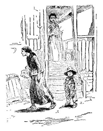 A woman standing on a porch looking over her child and another woman walking away, vintage line drawing or engraving illustration