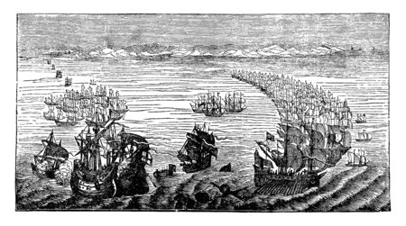 Armada is used in many Spanish speaking nations as the title of the national naval force, vintage line drawing or engraving illustration.