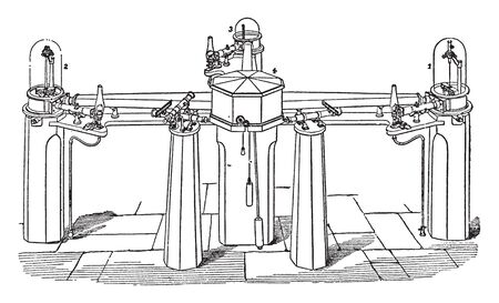 Kew Instruments arranged in the relative positions recommended by Lloyd so as magnetically to interfere with one another as little as possible, vintage line drawing or engraving illustration. Illustration