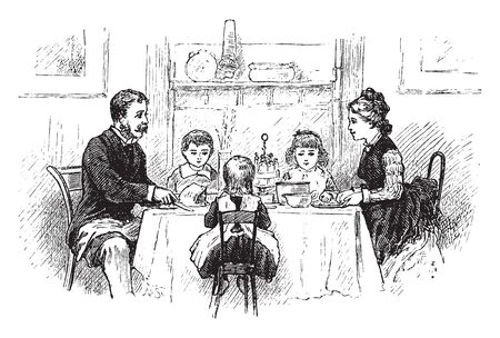 A family having dinner, vintage line drawing or engraving illustration Banque d'images - 133239059
