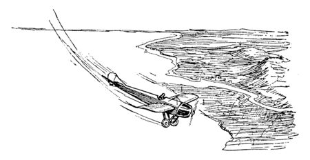 This illustration represents Airplane Sideslip Recovery Flying, vintage line drawing or engraving illustration.