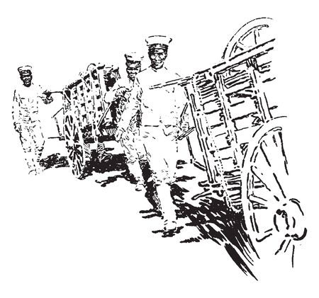 Japanese Medics are military personnel who have been trained to at least an EMT level and are responsible for providing first aid, vintage line drawing or engraving illustration. Illustration