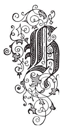 An ornamental floral letter H, vintage line drawing or engraving illustration Illustration