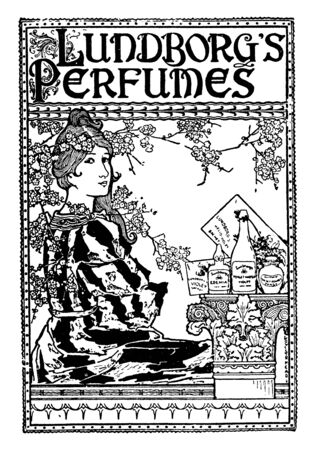 A perfume advertisement with woman, vintage line drawing or engraving illustration