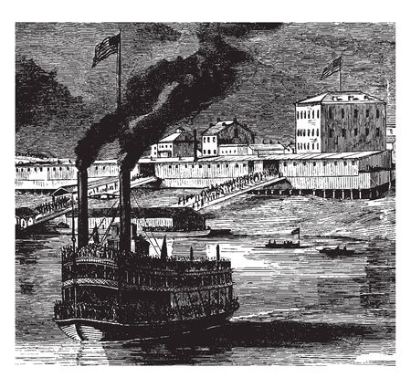 Bellaire is a town situated on the Ohio River and three miles below Wheeling, vintage line drawing or engraving illustration. Ilustração