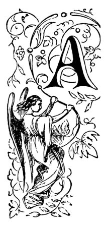 A decorative letter A with an angel holding a vine underneath, vintage line drawing or engraving illustration Illustration