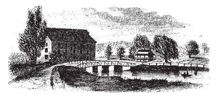 King Bridge is a historic covered bridge in Middlecreek Township Somerset County Pennsylvania, vintage line drawing or engraving illustration. Stock Illustratie