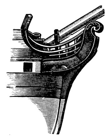 Fiddle Head is an ornament at the bow of a ship over the cutwater consisting of carved work in the form of a volute or scroll, vintage line drawing or engraving illustration.