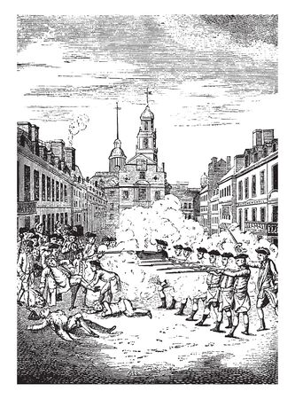 Boston Massacre, was as Incident  in which British Army soldiers shot and killed people,vintage line drawing or engraving illustration. Illustration