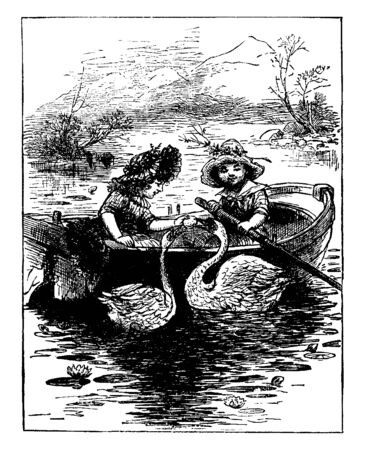 Girls & Rowboat where two girls in a boat feeding two swans, vintage line drawing or engraving illustration. Иллюстрация