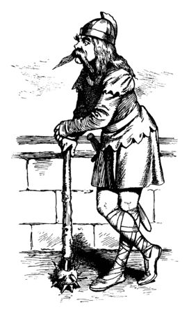 A soldier leaning on mace, vintage line drawing or engraving illustration