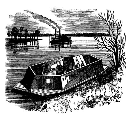A Mortar Boat which is a small boat with mortar, vintage line drawing or engraving illustration.