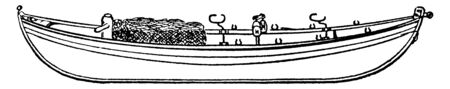 Seine Boat is a boat specially designed or used for holding, vintage line drawing or engraving illustration.