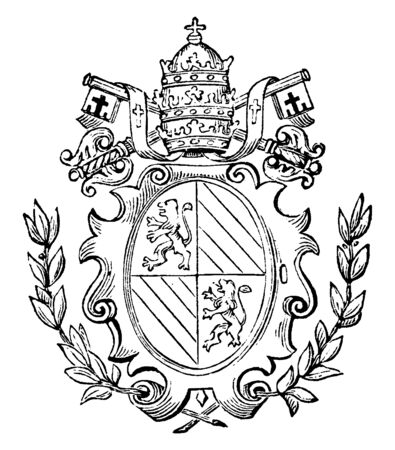 The Great Seal of the Roman States which was first used publicly in 1782, vintage line drawing or engraving illustration.  イラスト・ベクター素材